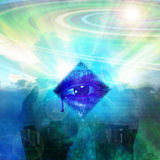 Myst. Abstract with tech eye and other elements stock illustration
