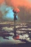 Mysteriöse Frau hält den Regenschirm, der in einer Pfütze steht lizenzfreie abbildung