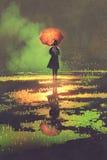 Mysteriöse Frau hält den Regenschirm, der in einer Pfütze steht stock abbildung