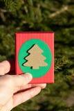 Mysteriöse Geschenke in einer Geschenkbox auf den Niederlassungen des Weihnachtsbaums am Vorabend des Weihnachten und des Valenti stockbilder