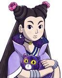 Mysteriöse junge Hexe, die eine magische Katze hält vektor abbildung