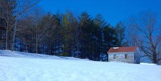 Mysteriöse verlassene Bretterbude im weiten Nordwald Lizenzfreies Stockfoto