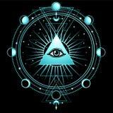 Mysteriöser Hintergrund: Pyramide, Auge gesamt-sehend, heilige Geometrie lizenzfreie abbildung