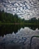 Mysteriöser Wald mit einem bodenlosen See lizenzfreies stockbild
