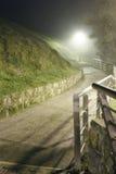 Mysteriöser Weg auf einer nebeligen Nacht Lizenzfreie Stockfotos