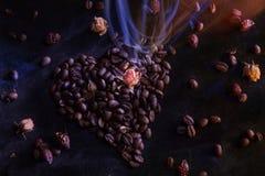 Mysteriöses Licht kommt von einer Blume im Herzen des Kaffees Stockbilder