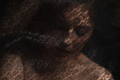 Mysteriöses Porträt der Schönheit im schwarzen Spitzeschleier Stockbilder