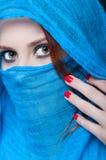 Mysteriöses weibliches Modell mit stilvollem Make-up Lizenzfreie Stockfotografie