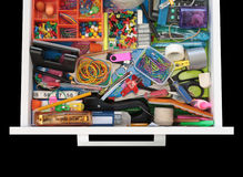 Mysteries Of The Stationery Drawer On Black Stock Image