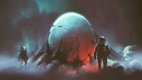 The mysterious alien egg. Sci-fi horror scene of two astronauts found the mysterious alien egg, digital art style, illustration painting stock illustration