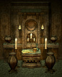 The mysterious Altar. A room with altar in fantasy style Royalty Free Stock Photography