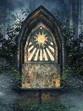 Mysterious altar with ivy Stock Photo