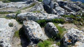 Mysterious anthropomorphic graves on top of Angelocastro, Corfu Royalty Free Stock Photos