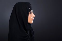 Mysterious Arabian woman. On black background Royalty Free Stock Photography