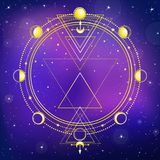Mysterious background: night star sky, circle of a phase of the moon, sacred geometry. Esoteric, mysticism, occultism. Print, poster, t-shirt, card. Vector Stock Image