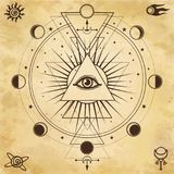 Mysterious background: pyramid, all-seeing eye, sacred geometry. stock illustration