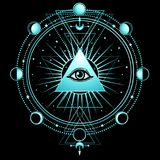 Mysterious background: pyramid, all-seeing eye, sacred geometry. Esoteric, mysticism, occultism. Print, poster, t-shirt, card. Vector illustration on a black royalty free illustration