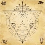 Mysterious background: sacred geometry, circles, triangles, stars. Background - imitation of old paper. Place for the text. Esoteric, mysticism, occultism vector illustration