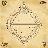 Mysterious background: sacred geometry, circles, triangles, stars. Background - imitation of old paper. Place for the text. Esoteric, mysticism, occultism stock illustration