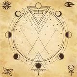 Mysterious background: sacred geometry, phases of the moon. Place for the text. Background - imitation of old paper. Esoteric, mysticism, occultism. Print Stock Photo