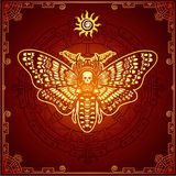 Mysterious background: the stylized color image of a moth the Dead Head, a mystical circle, a decorative frame. Esoteric, mysticism, occultism.  Print, poster Royalty Free Stock Image