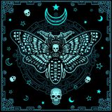 Mysterious background: the stylized color image of a moth the Dead Head, a mystical circle, a decorative frame. Royalty Free Stock Photography