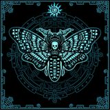 Mysterious background: the stylized color image of a moth the Dead Head, a mystical circle, a decorative frame. Royalty Free Stock Photos