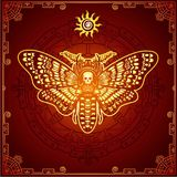 Mysterious background: the stylized color image of a moth the Dead Head, a mystical circle, a decorative frame. Esoteric, mysticism, occultism. Print, poster Stock Photo