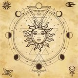 Mysterious background: sun with a human face,sacred geometry, phases of the moon. Background - imitation of old paper. Esoteric, mysticism, occultism. Print stock illustration