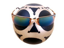 Mysterious Ball Five. Black & Gray patterned Rubber Ball with bronze sunglasses five stock illustration