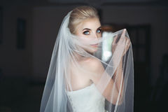 Mysterious beautiful blue eyes blonde bride Royalty Free Stock Photo