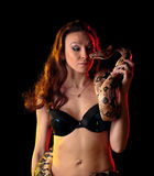 Exotic Woman with a Boa Royalty Free Stock Photos