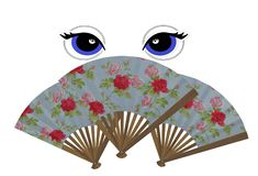 Mysterious beautiful eyes with long lashes behind three floral design hand fans vector illustration