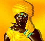 Mysterious Black Arab Woman from the Saharan sands. Black Arab Woman from the Saharan sands. A mysterious beauty wearing a gold headscarf and robe with gold Stock Photography