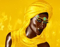 Mysterious Black Arab Woman from the Saharan sands. Black Arab Woman from the Saharan sands. A mysterious beauty wearing a gold headscarf and robe with gold Stock Images