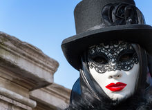 Mysterious black woman with red lips at Venice Carnival Stock Photos