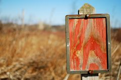 A Mysterious Blank Sign. A blank sign in a Madison, Wisconsin Convervancy Royalty Free Stock Photography