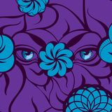 Mysterious Blue Eyes on a Violet Background. Creative illustration with a mysterious blue eyes and flowers on a violet background. Hand-drawn design for fashion Stock Photos
