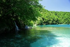 Mysterious blue paradise in Plitvice Lakes Royalty Free Stock Image