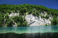 Mysterious blue paradise in Plitvice Lakes Royalty Free Stock Photography