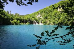 Mysterious blue paradise in Plitvice Lakes Stock Photos