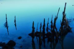 Mysterious blue reflections Stock Photo