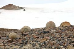 Mysterious boulders and pebbles of Champ Island Stock Images