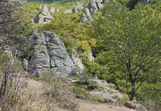 Before the mysterious boulders of the Valley of ghosts Royalty Free Stock Photography