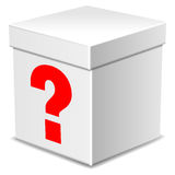 Mysterious box with question mark isolated on white Stock Photography