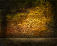 Mysterious brick wall. Colorful dark brick wall texture with foreground Stock Photo