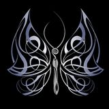 Mysterious butterfly on black background. Wing insect butterfly fly tattoo tribal Royalty Free Stock Photo