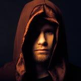 Mysterious Catholic monk. On dark background. studio shot royalty free stock photos