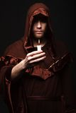 Mysterious Catholic monk Royalty Free Stock Image