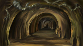 Mysterious cave. Digital painting of the Mysterious cave Royalty Free Stock Images